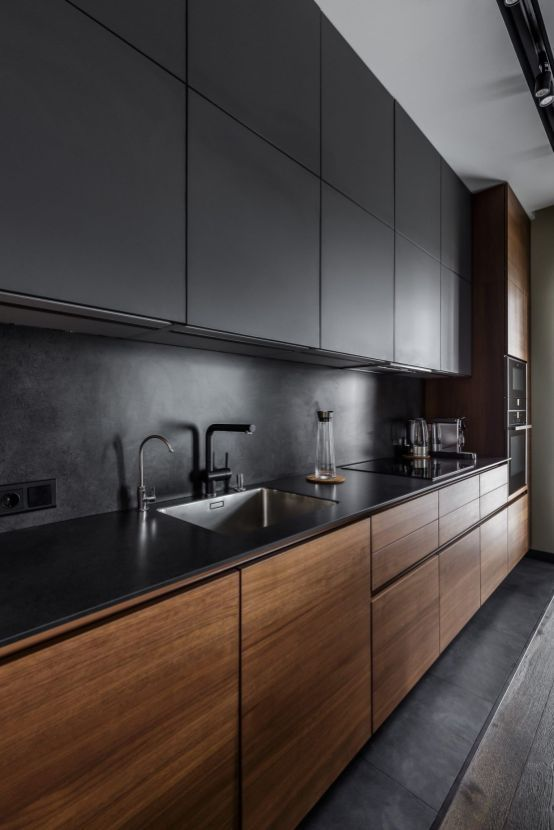 wooden and black kitchens